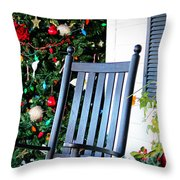 Christmas On The Porch Throw Pillow