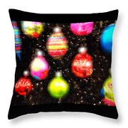 Christmas Ornaments Abstract One Throw Pillow