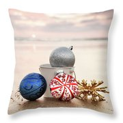 Christmas Ornaments On The Beach Throw Pillow