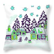 Christmas Picture In Green And Blue Colours Throw Pillow