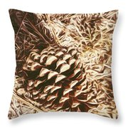 Christmas Pinecone On Barn Floor Throw Pillow