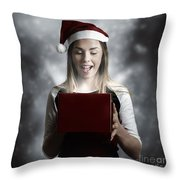 Christmas Present Girl Opening Magic Gift Box Throw Pillow