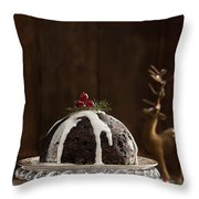 Christmas Pudding With Cream Throw Pillow