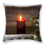 Christmas Red Candle With Snow Covered Home Window And Pine Tree Throw Pillow