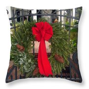 Christmas Ribbon On Iron Door Throw Pillow