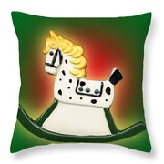 Christmas Rocking Horse Throw Pillow