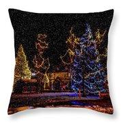 Christmas Snow Storm In Big Bear Throw Pillow
