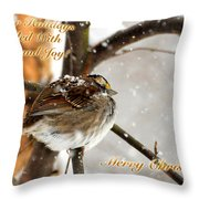 Christmas Sparrow - Christmas Card Throw Pillow