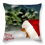 Christmas Squirrel  Greeting Card Throw Pillow