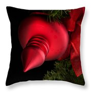 Christmas Tradition - Red Ornament And Ribbon Throw Pillow