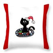 Christmas Train Kitty Cat Throw Pillow