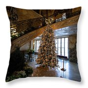 Christmas Tree And Staircase Marble House Newport Rhode Island Throw Pillow