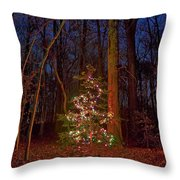 Christmas Tree In Forest Throw Pillow
