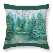 Christmas Tree Lot Throw Pillow