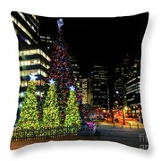 Christmas Tree On New Year's Eve In The Street Of A Big City Throw Pillow