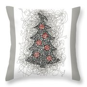Christmas Tree Pen And Ink Drawing Throw Pillow