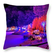 Christmas Trees Row And Frozen Lake View Throw Pillow