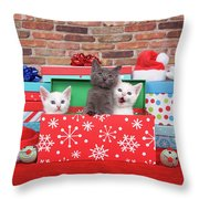 Christmas With Kittens Throw Pillow