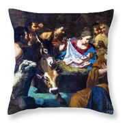 Christmas With The Shepherds Throw Pillow