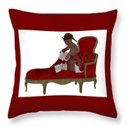 Christmas Woman On Couch Throw Pillow