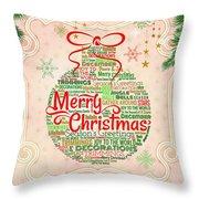 Christmas Words Ornament Throw Pillow