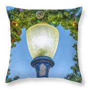 Christmas Wreath Lampost Throw Pillow