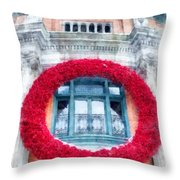 Christmas Wreath Old Quebec City Throw Pillow