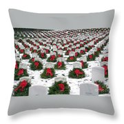 Christmas Wreaths Adorn Headstones Throw Pillow
