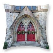 Christmas Wreaths On Red Church Doors Throw Pillow