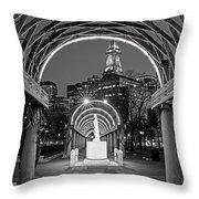 Christopher Columbus Park Boston Ma Trellis Statue Black And White Throw Pillow