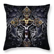Jesus On The Cross Silver Throw Pillow
