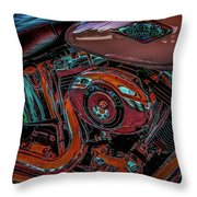 Chrome Leather And Power 1481 H_2 Throw Pillow