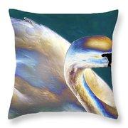 Chrome Swan Throw Pillow