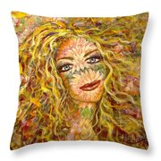 Chrysanthemum Girl Throw Pillow