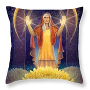 Chrysanthemum - Light In The Darkness Throw Pillow
