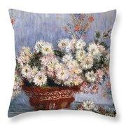 Chrysanthemums, 1878  Throw Pillow