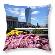 Chrysanthemums And Cirrus  Throw Pillow