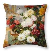 Chrysanthemums In A Walled Garden Throw Pillow