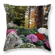 Chrysanthemums In The Garden Throw Pillow