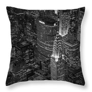 Chrysler Building Aerial View Bw Throw Pillow