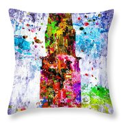 Chrysler Building Colored Grunge Throw Pillow