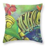 Chubby Little Caterpillars Throw Pillow