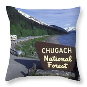 Chugach National Forest Sign And Scenic Throw Pillow