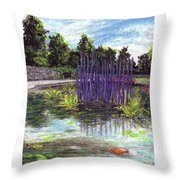 Chuhuly Installation At Biltmore Water Gardens Throw Pillow