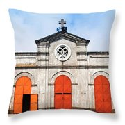 Church And Bicycle Throw Pillow