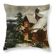 Church And Cottage With Lighted Windows Throw Pillow