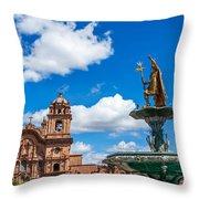 Church And Fountain In Cusco Peru Throw Pillow