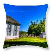 Church And Graveyard Throw Pillow