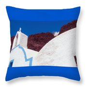 Church And Windmill In Santorini Greece Throw Pillow
