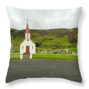Church At Vik I Myrdal Iceland Throw Pillow
